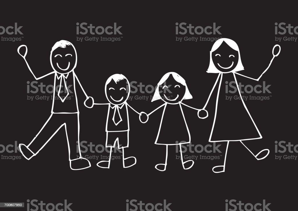 Sketchy of happy family vector art illustration