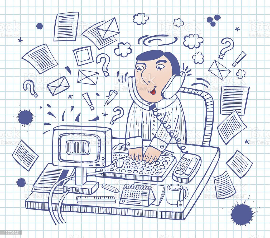 sketchy office man royalty-free stock vector art