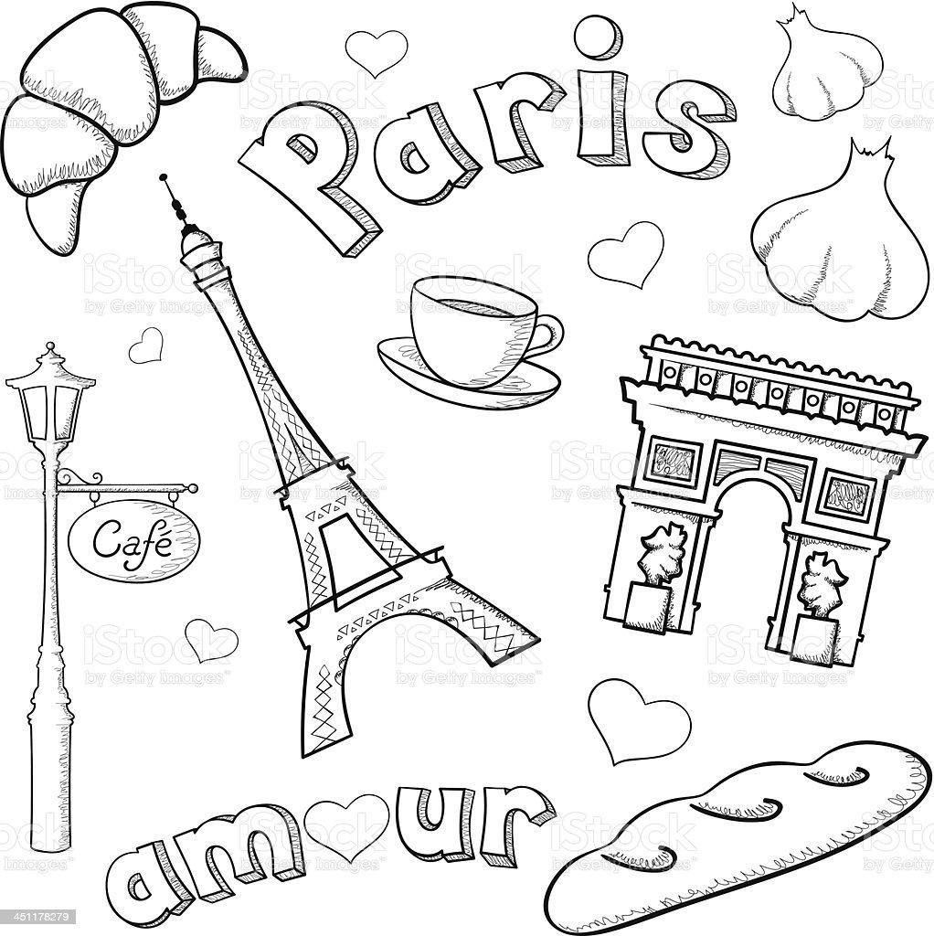 Sketchy Paris vector art illustration