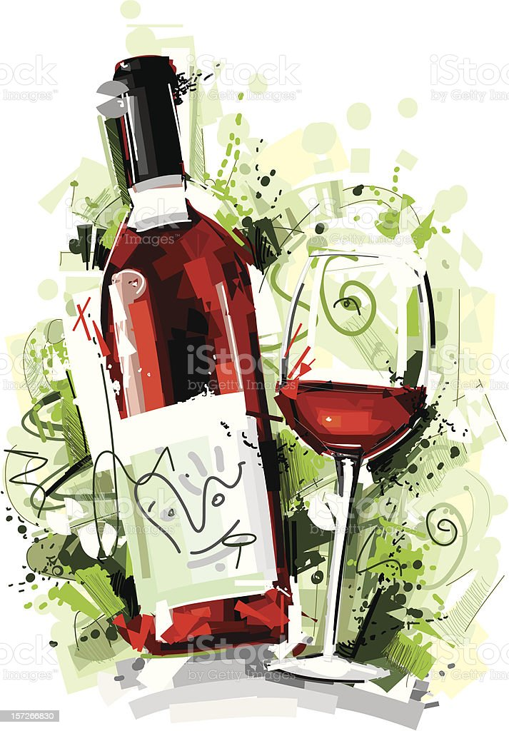sketchy red wine bottle and glass vector art illustration
