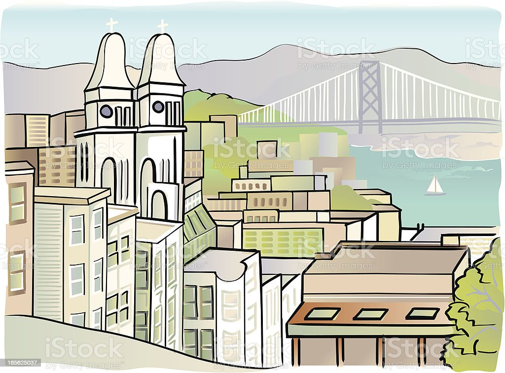 Sketchy rendering of San Francisco cityscape vector art illustration