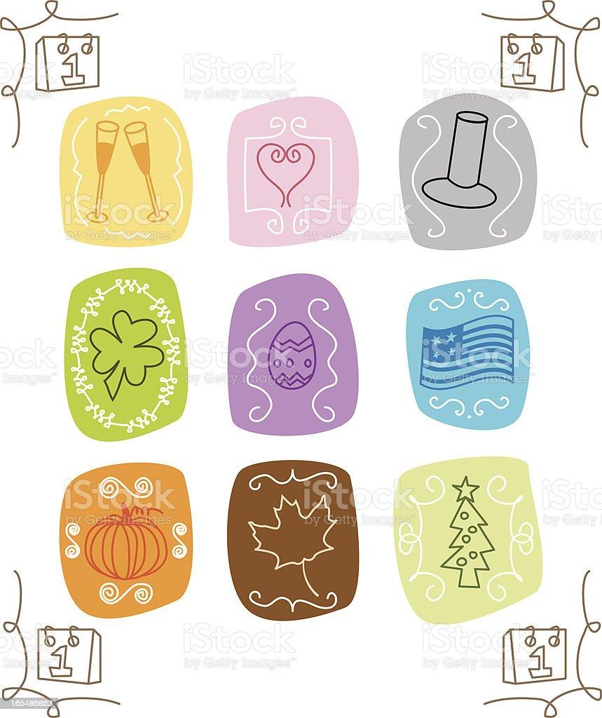 Sketchy Retro Holiday Icons vector art illustration