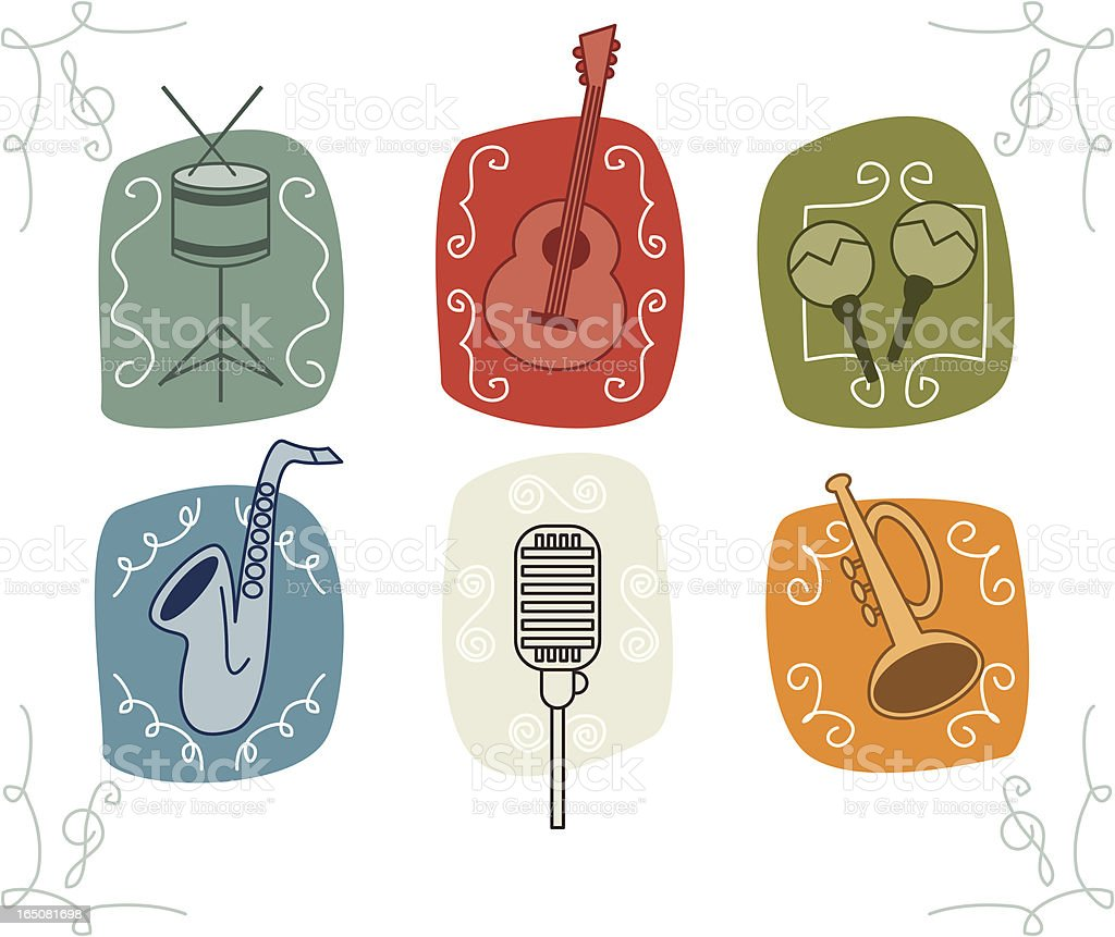 Sketchy Retro Music Icons royalty-free stock vector art