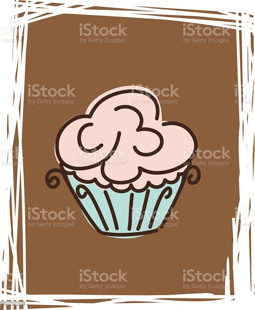 Sketchy Retro Style Simple Cupcake Clipart Icon Drawing on Brown royalty-free stock vector art