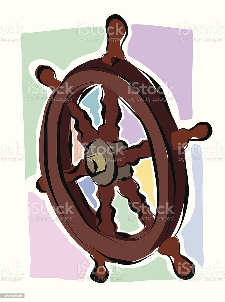 Sketchy Ships Wheel royalty-free stock vector art