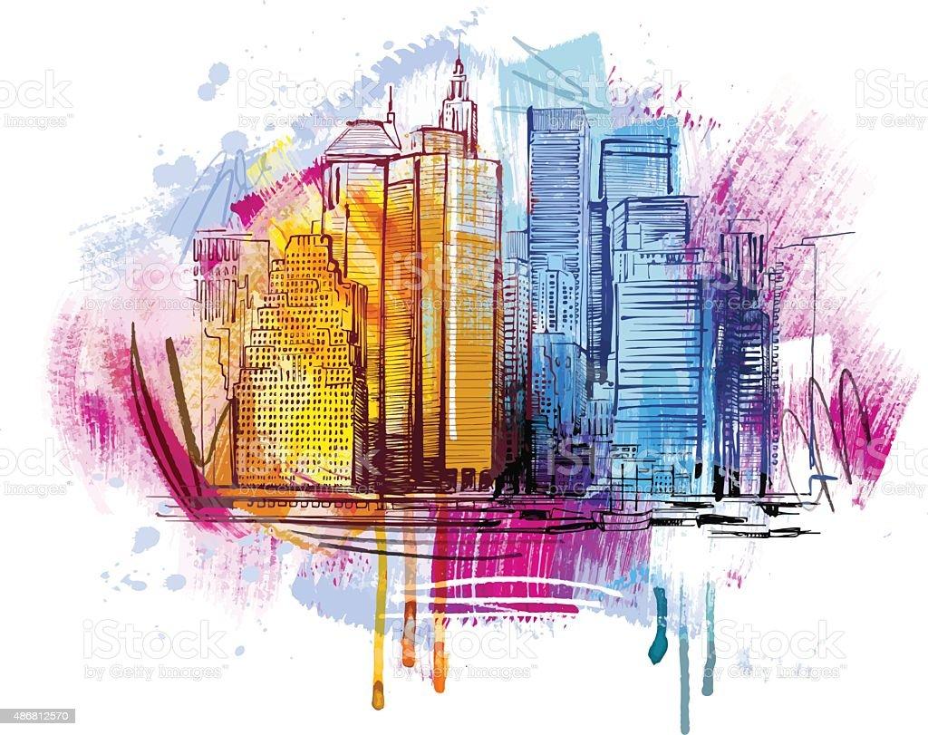 Sketchy Skyline vector art illustration