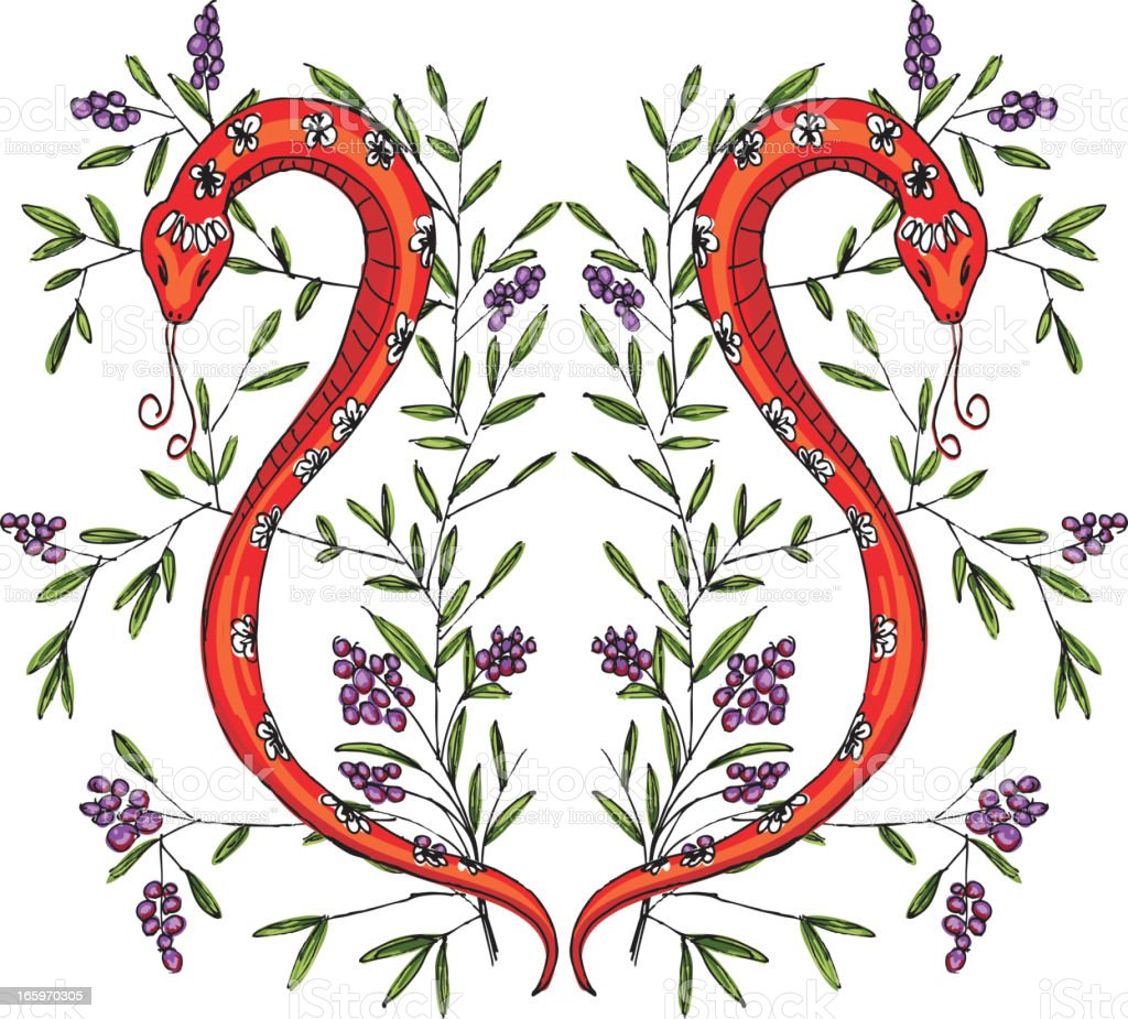 Sketchy Snake With Floral Branches royalty-free stock vector art