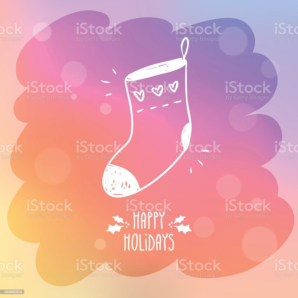 Sketchy sock for gifts on misted window glass with bokeh vector art illustration