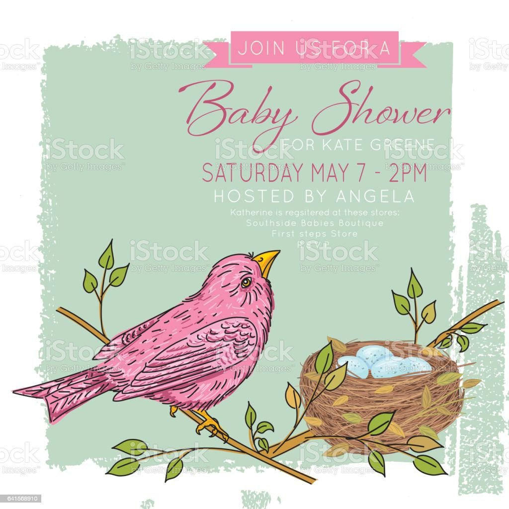 Sketchy Songbird And Nest Baby Shower Invitation vector art illustration