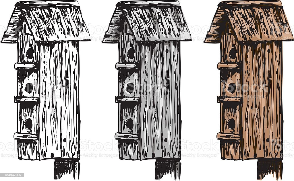 Sketchy Style Birdhouses royalty-free stock vector art