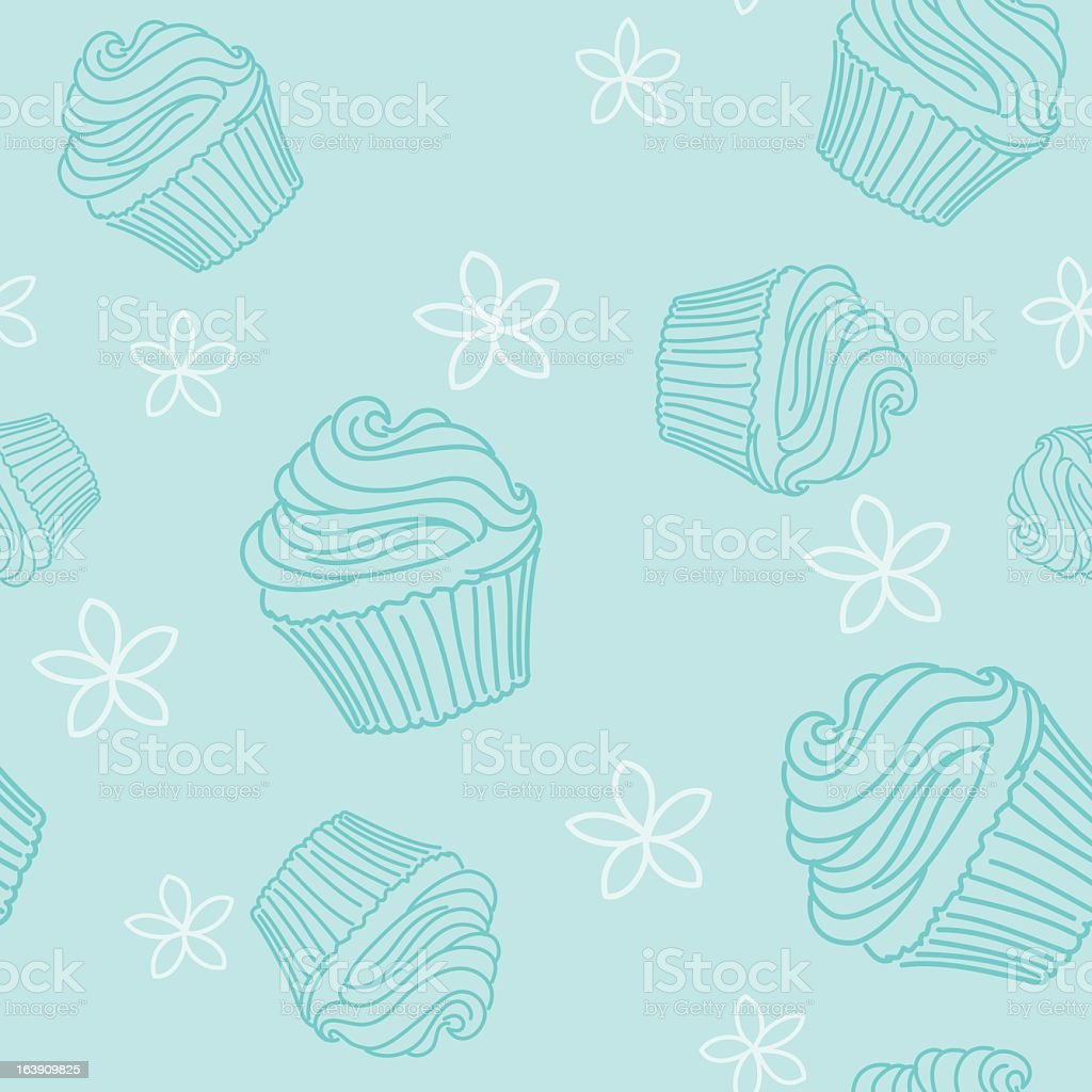 Sketchy Style Cupcake Seamless Pattern vector art illustration