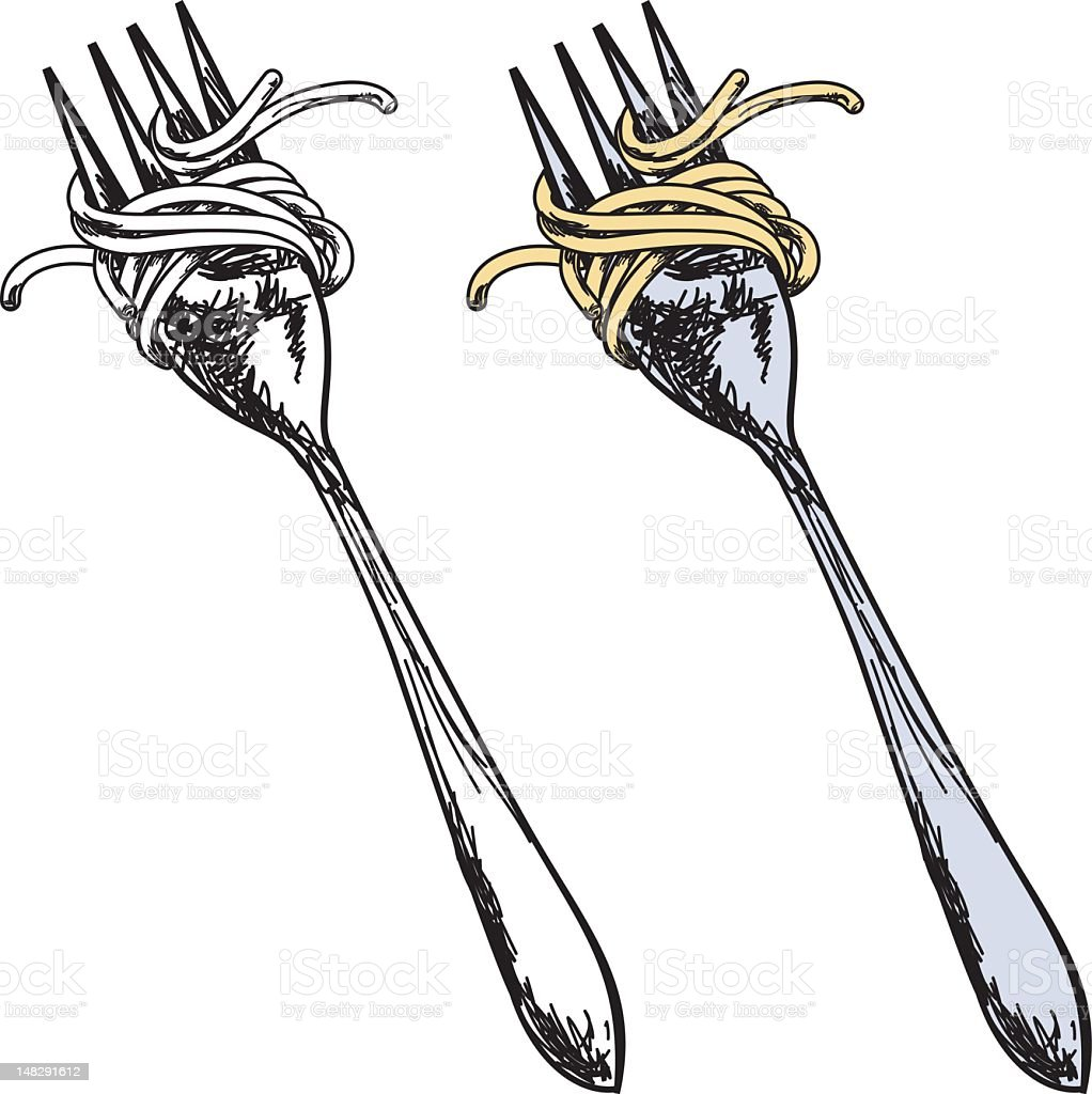 Sketchy Style Fork With Spaghetti vector art illustration