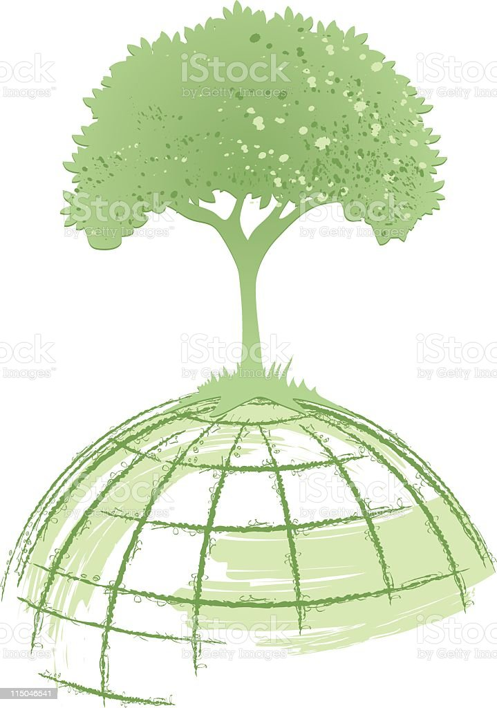 Sketchy Style Tree Growing on top of World Globe royalty-free stock vector art