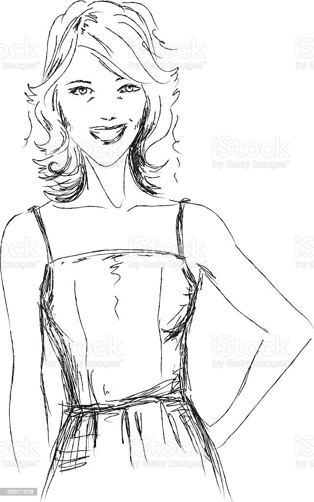 Sketchy Style Young Woman vector art illustration
