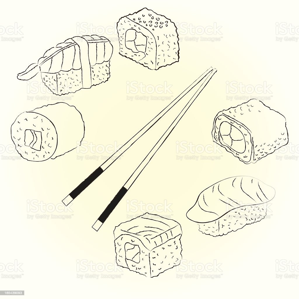 Sketchy sushi set vector art illustration