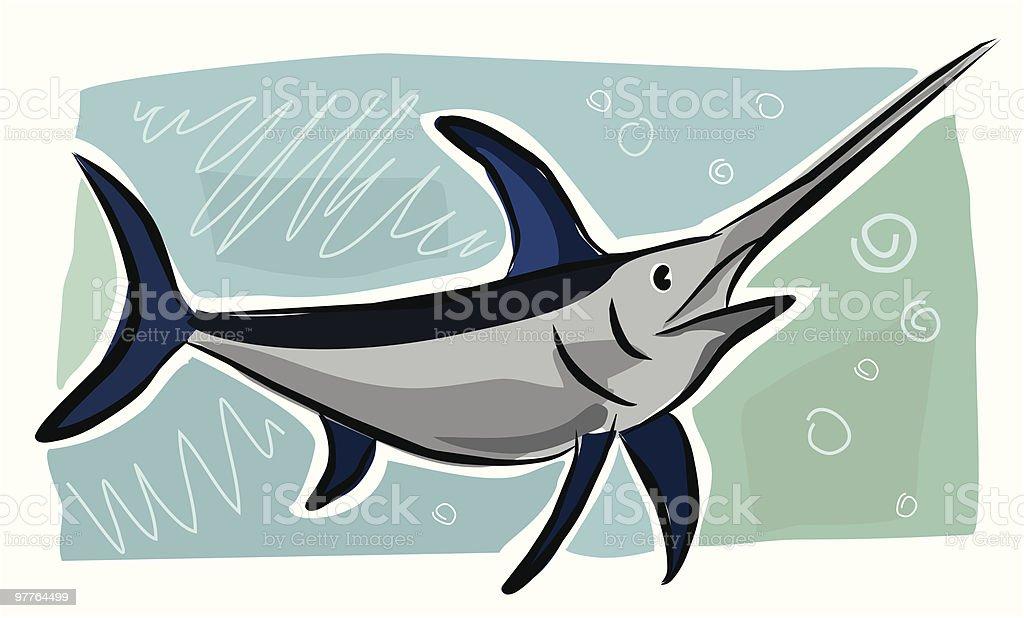 Sketchy Swordfish royalty-free stock vector art