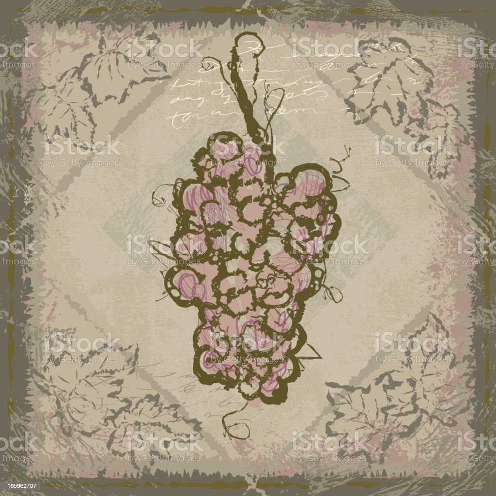 Sketchy tile Bunch of grapes on a textured background vector art illustration