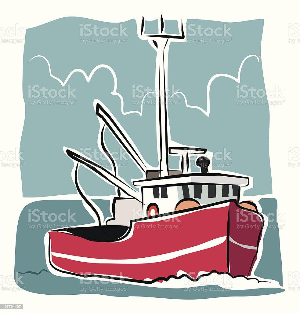 Sketchy Trawler vector art illustration