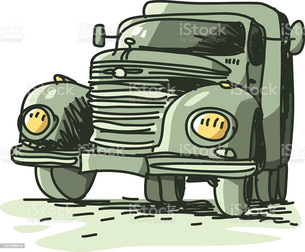 sketchy truck vector art illustration