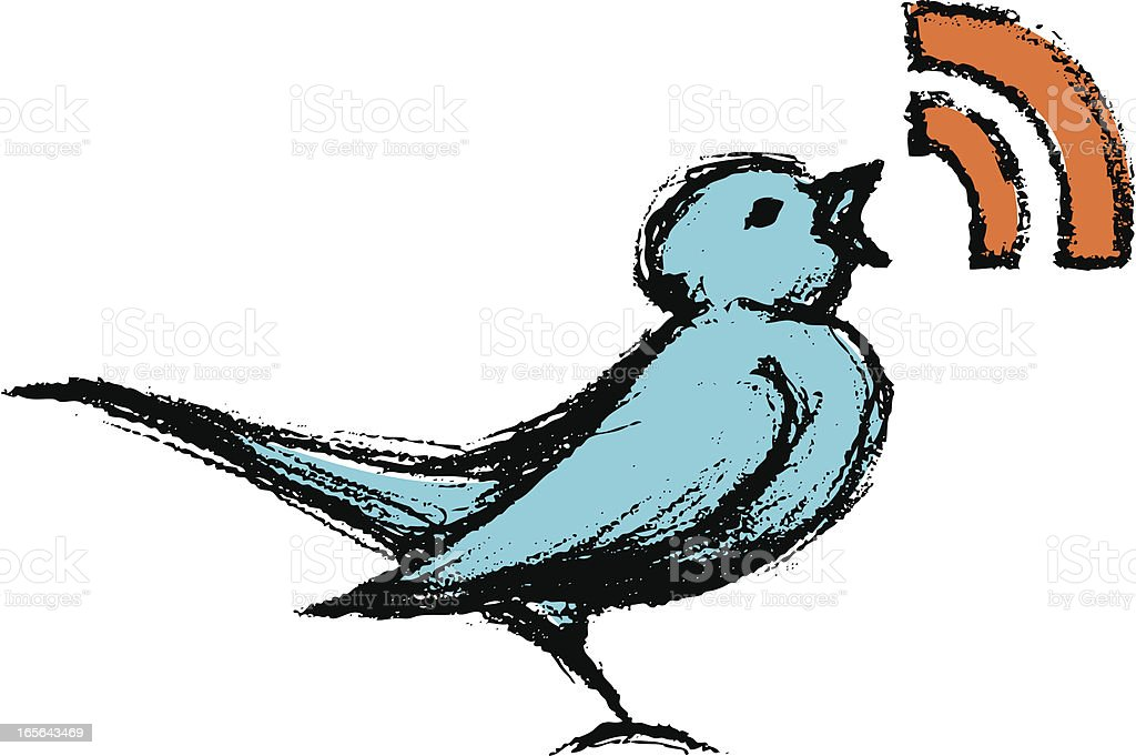 Sketchy Tweeting Bird vector art illustration