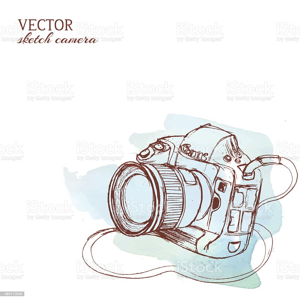 Sketchy vector camera with watercolor background vector art illustration