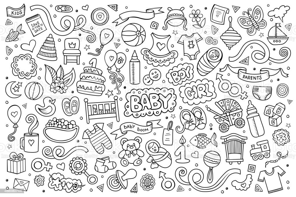 Sketchy vector hand drawn Doodle cartoon set of objects vector art illustration