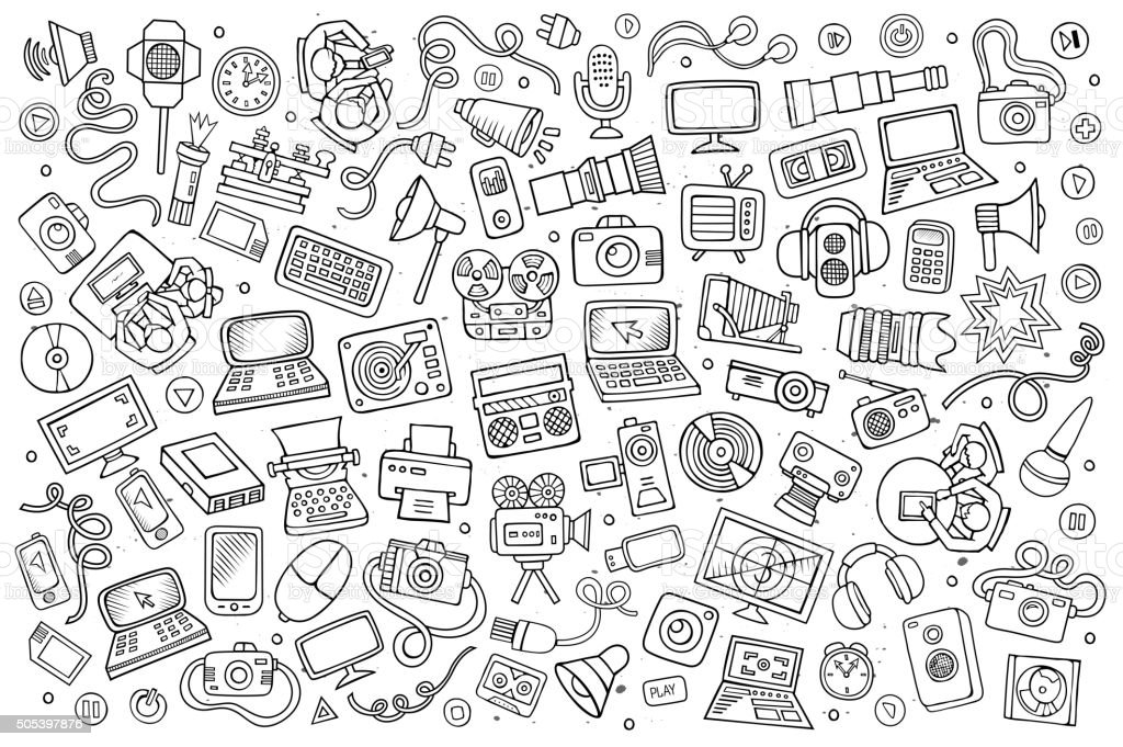 Sketchy vector hand drawn Doodle equipment and devices objects set vector art illustration