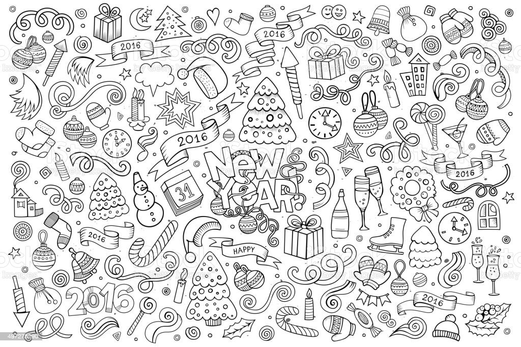 Sketchy vector hand drawn Doodle set of New Year objects vector art illustration