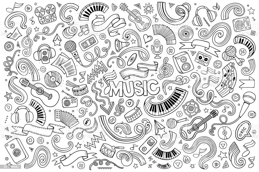 Sketchy vector hand drawn doodles cartoon set of Music objects vector art illustration