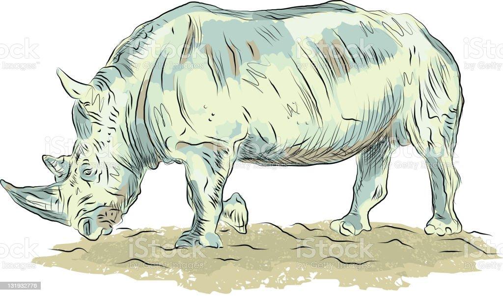 Sketchy vector rhino vector art illustration