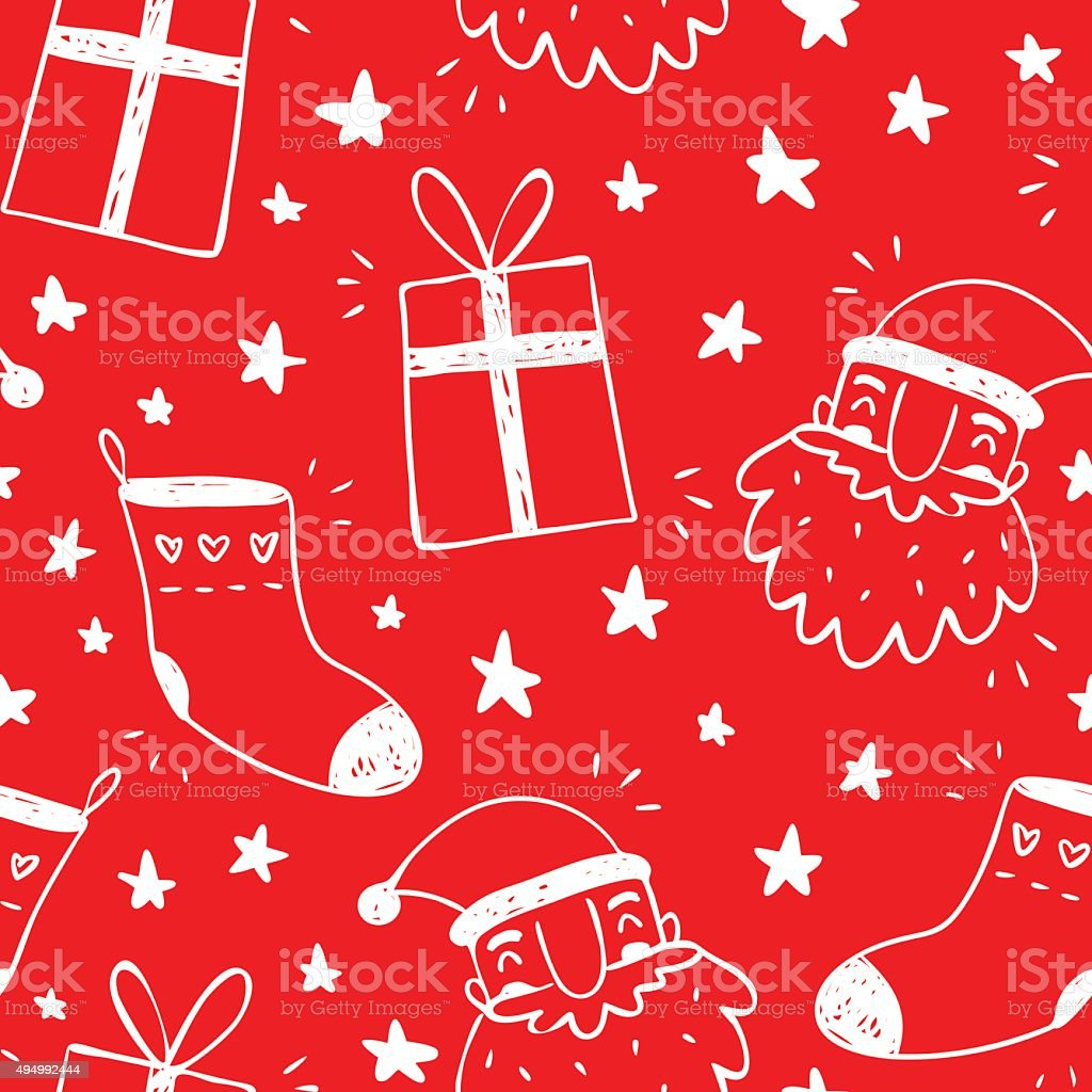 Sketchy vector seamless pattern with Santa Claus, socks and gifts vector art illustration