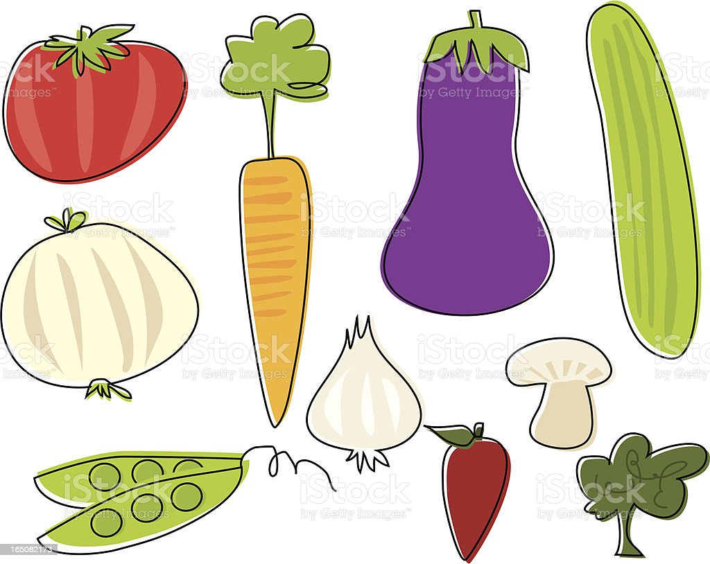 Sketchy Veggies vector art illustration