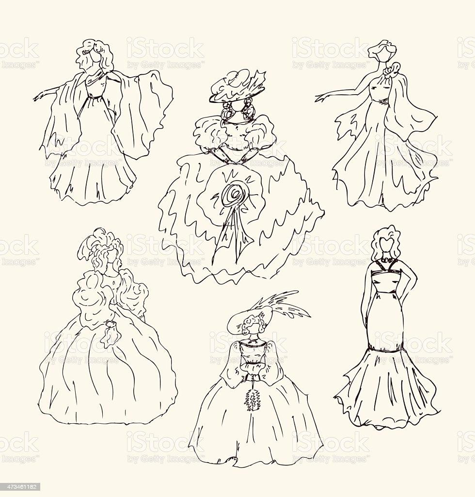 Sketchy vintage women silhouettes set vector art illustration