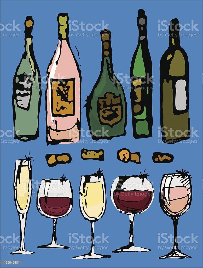 Sketchy Wine royalty-free stock vector art