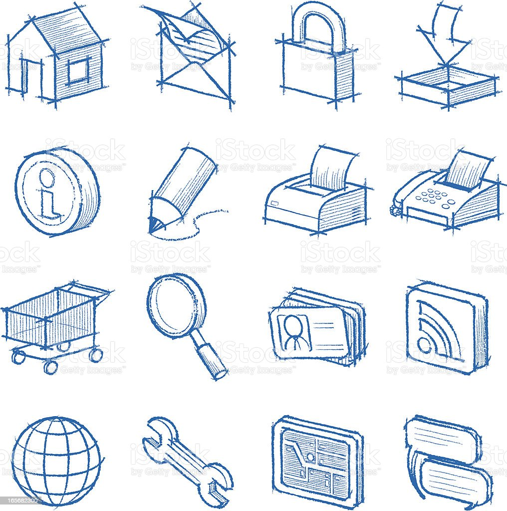 skething web icons royalty-free stock vector art