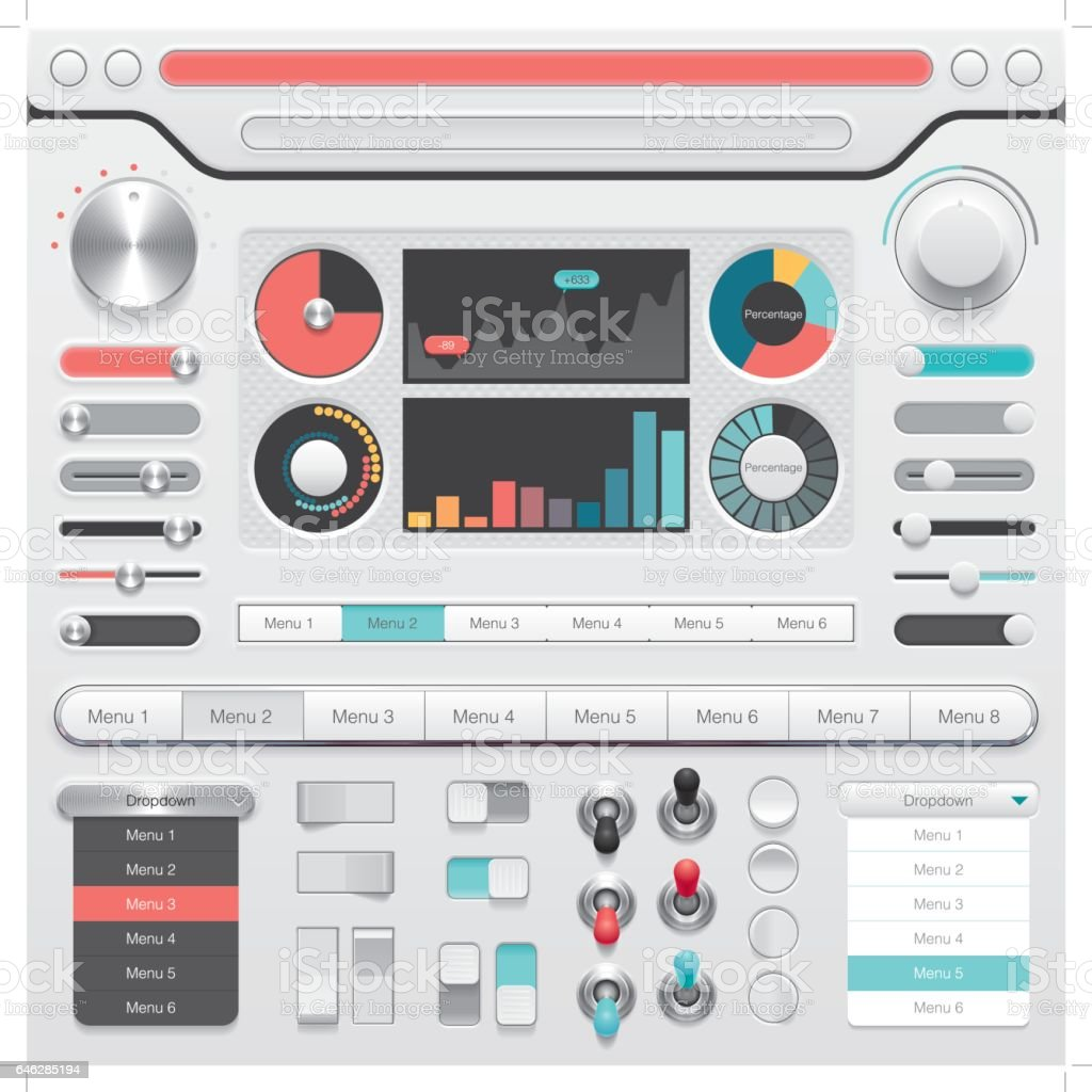 skeuomorphic user interface buttons and design vector art illustration