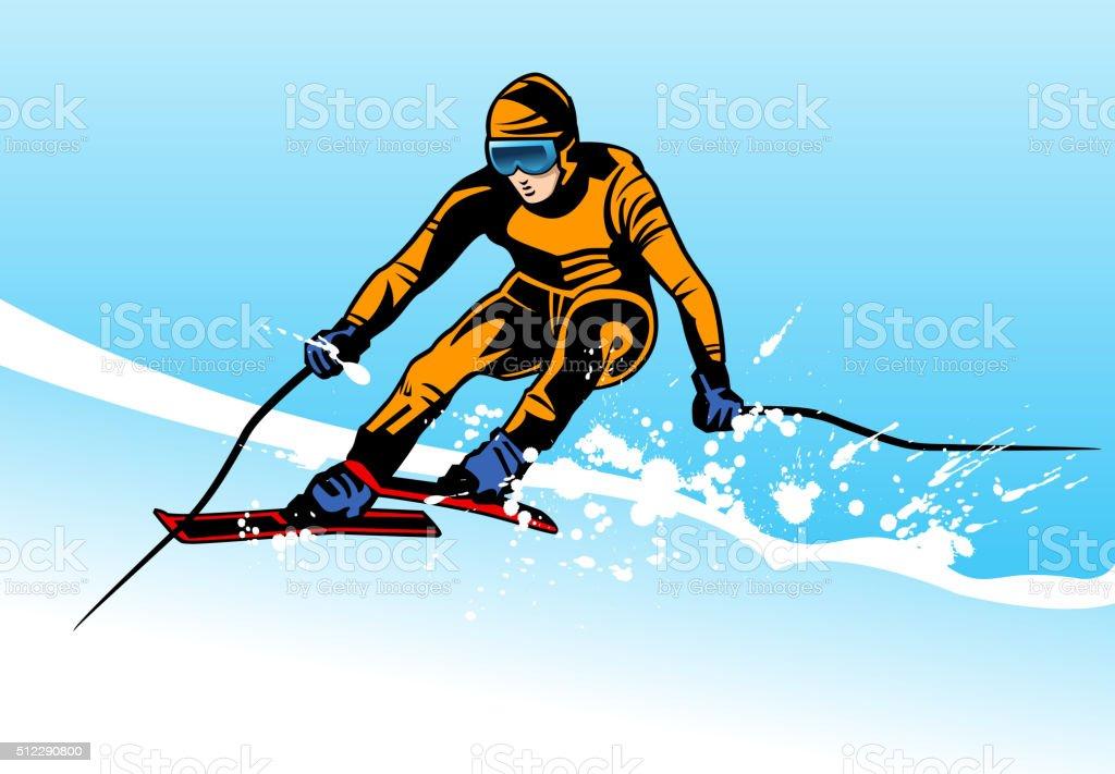 ski action vector art illustration