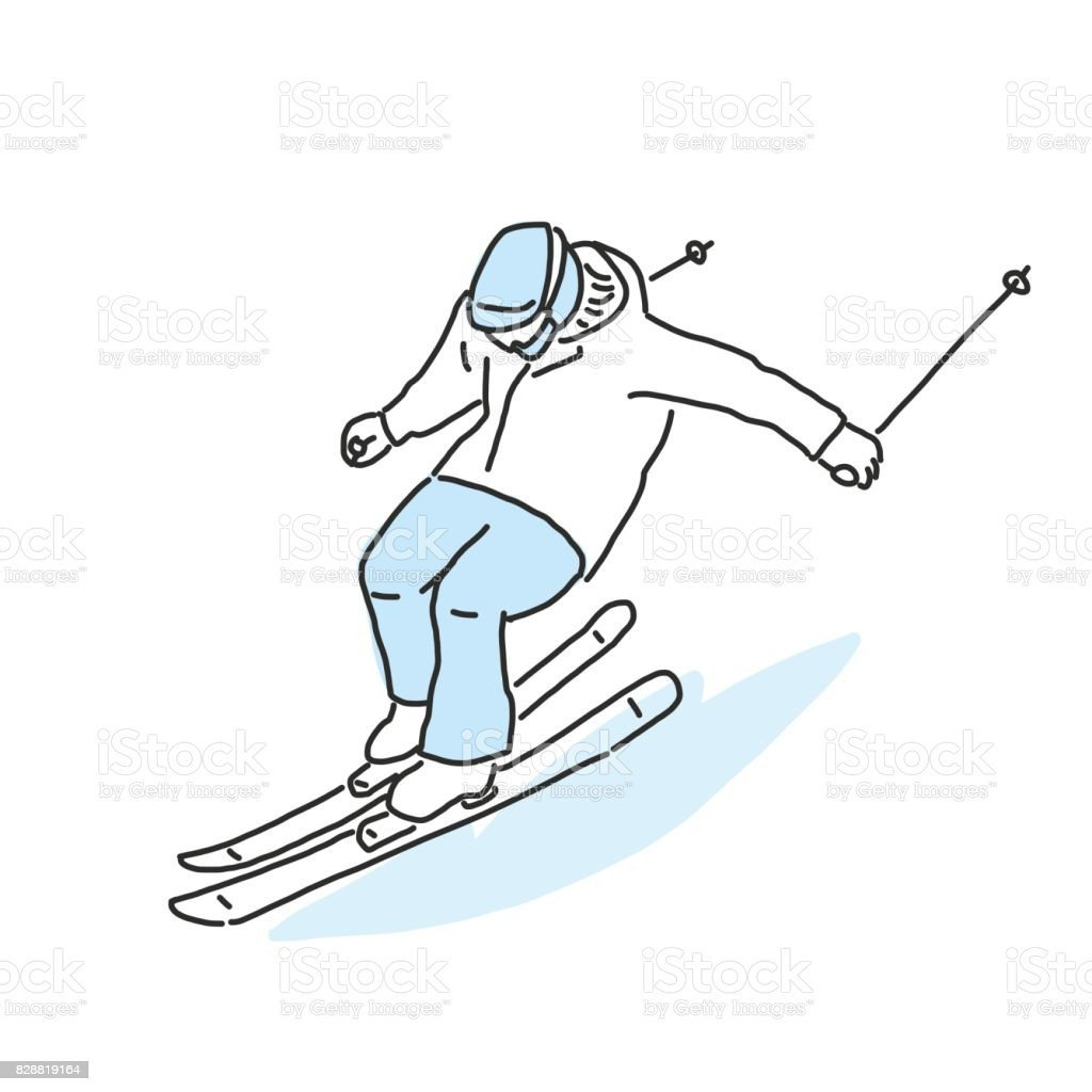 Ski and skiing winter sport, line drawing. hand drawn. vector...