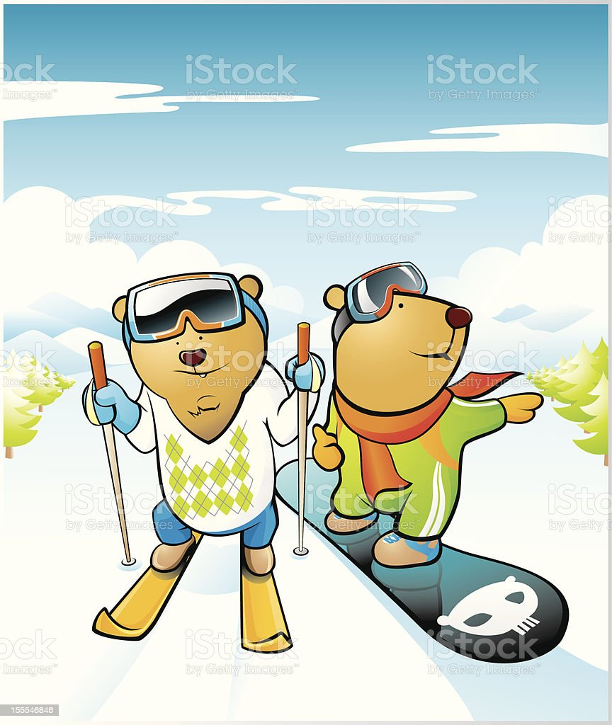 Ski And Snowboard Bears royalty-free stock vector art
