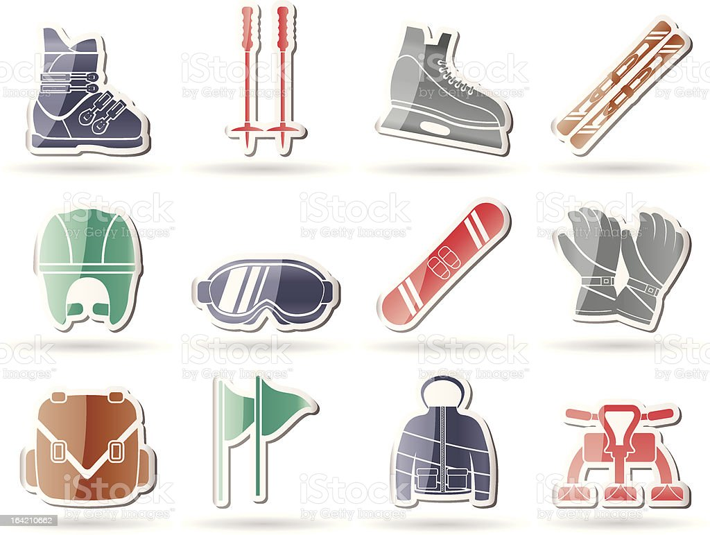 ski and snowboard equipment icons royalty-free stock vector art