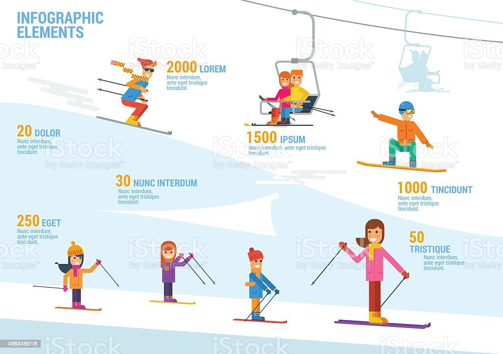 Ski and snowboard infographic vector art illustration