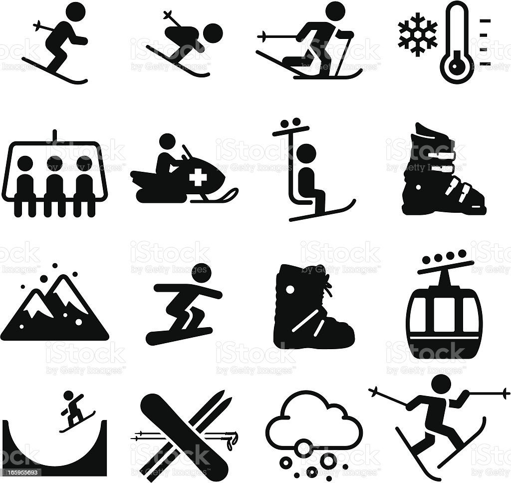 Ski Area Icons - Black Series vector art illustration