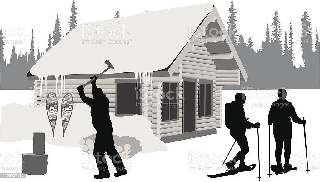 Ski Cabin Vector Silhouette royalty-free stock vector art