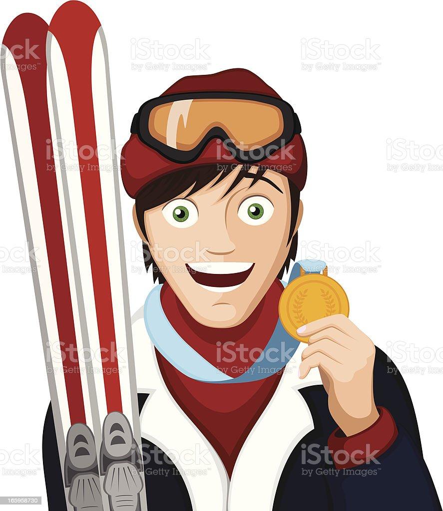 Ski Champion royalty-free stock vector art