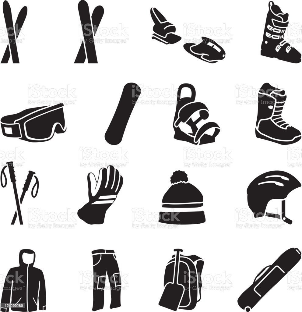 Ski Equipment icons vector art illustration