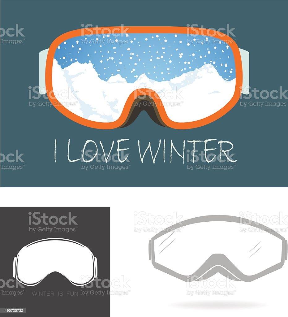 Ski goggles vector art illustration