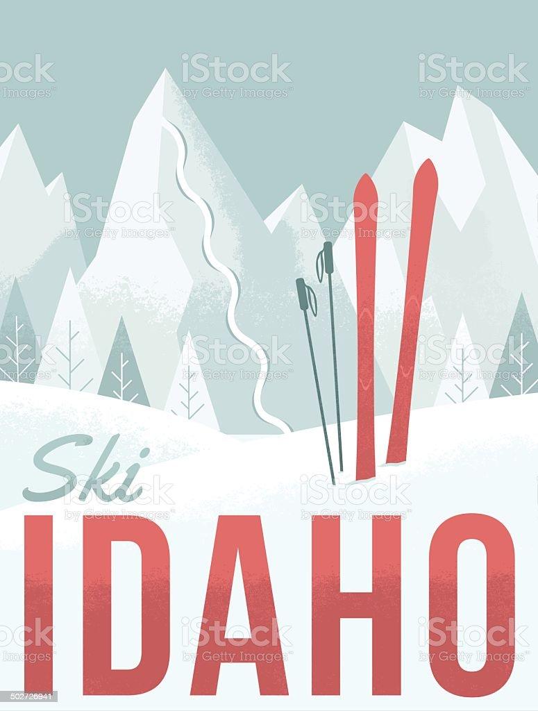 Ski Idaho vector art illustration