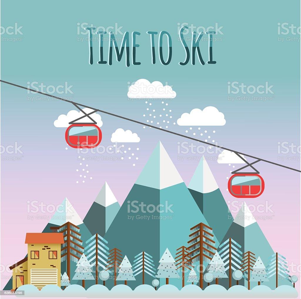 Ski landscape in flat style. vector art illustration