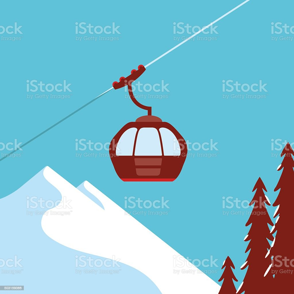 Ski Lift Gondola Snow Mountains vector art illustration