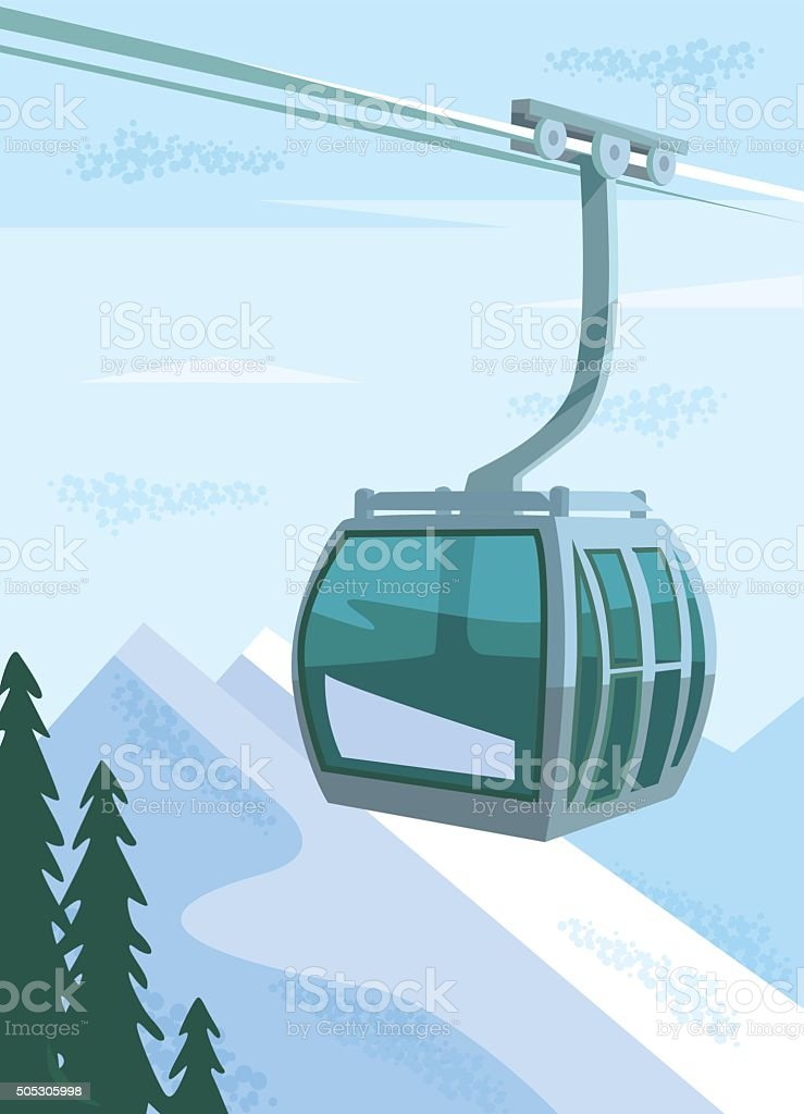 Ski lift. Vector flat illustration vector art illustration